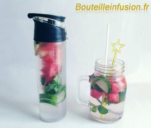 eau infusée concombre menthe pastèque