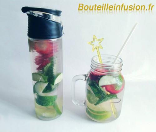 eau infusée citron vert concombre fraise menthe