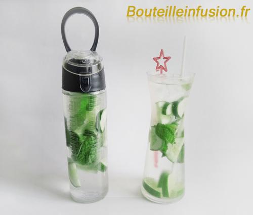 eau infusée citron vert concombre menthe