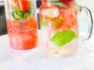 eau aromatisée fraise menthe pastèque